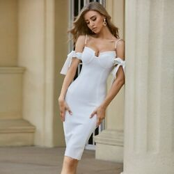 Women Summer Off Shoulder Bandage Bodycon Club Celebrity Evening Party Dress