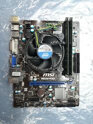 MSI motherboard H81M P33 with an Intel Core i3 4150 3.5GHz and 4GB Kingston RAM $99.99