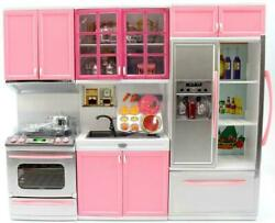 My Modern Kitchen Full Deluxe Kit Playset Refrigerator Oven Sink Cabinets Pink $59.98