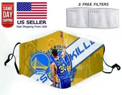 Golden State Warriors Face Mask Adjustable with 2 Filters Washable Unisex Adult $8.99