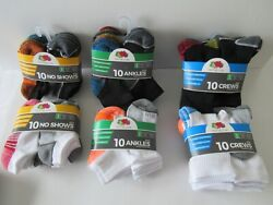 NEW BOYS#x27; SOCKS TEN PACKS No Show; Low Cut Ankle; Crew: $6 or $7 pack $6.00