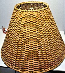 Large Bell Shape Wicker Lamp Shade Spider Fitting Metal Frame: 17quot; 12quot; 7quot; $139.50