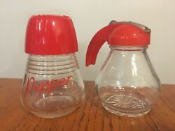 Vtg Retro 50#x27;s Kitchen Red Plastic Top Pepper Shaker amp; Syrup Dispenser $21.50
