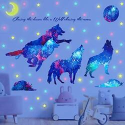 Creative Starry Sky Wolf Wall Decal Stickers For Kids Teen Bedroom Nursery Gift $21.04