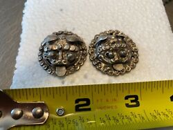 rare antique Ching Dynasty Chinese dragon faced silver clothing accessory. $35.00