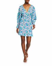 RHODE NWT Anya Resort Blue Pink Floral Print Long Sleeve Ruched Mini Dress XS $175.00