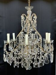 Vintage Italian French Crystal Macaroni Beaded Chandelier 6 Light $1200.00