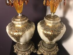 Pair Stunning Vintage Lamps With Amber Prisms Nite Lite $299.00