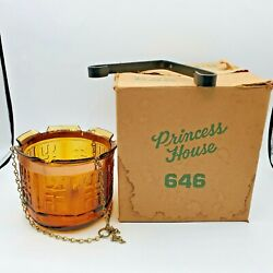 Vintage Amber Glass Hanging Candle Holder Planter 1970s Swag Decor NOS Open Box $24.99