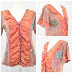Rising International Women Top Cotton Embroidered Patchwork Colorful Size Large $21.99