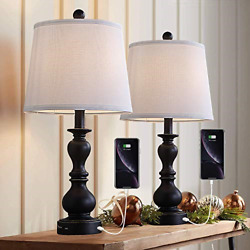 Resin Table Lamp Sets of 2 for Bedroom Living Room Plug in Bedside Nightstand 2 $113.53