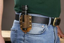 Personalized leather flashlight holster rustic leather flashlight belt holder $14.00