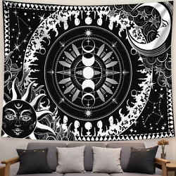 AMM Black and White Tapestry Goth Moon Sun Tapestry Wall Hanging for Bedroom L $18.99