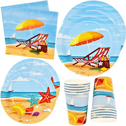 Beach Summer Party Supplies Tableware Set 24 9quot; Plates 24 7quot; Plate 24 9 Oz Cups $26.99