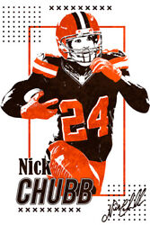 Nick Chubb Cleveland Browns Running Back NFL Art Wall Room Poster POSTER 24x36 $18.99