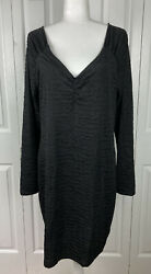 Torrid Size 2 2X Black Cocktail Dress Long Sleeve Vneck Plus Party Holiday NEW $24.99