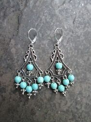 Turquoise Boho chic Chandelier Earrings with Sterling Silver lever backs $16.00