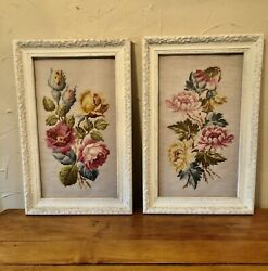 Vintage Framed Needlepoint Pair Framed For Wall Decor $110.00