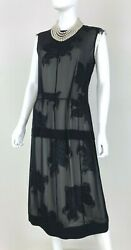 Derek Lam New 12 US 48 IT L Black Ivory Sheer Floral Cocktail Dress Runway Auth $107.00