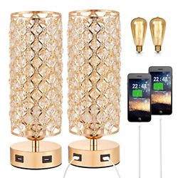 Touch Control USB Crystal Table Lamp Sets Dimmable Nightstand Lamp with Dual of $82.09