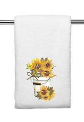 Yellow Decorative Kitchen and Bath Hand Towels Rustic Sunflower Pail Spring $14.99