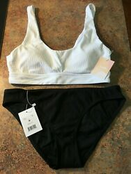 NWT Andie Swimsuit white and black bikini women size M $76.95