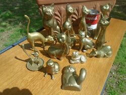 Vintage Solid Brass Cat Figurine Statues Lot of 14 $99.99