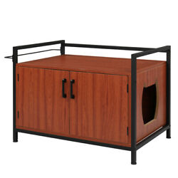 Cat Litter Box Enclosure Covered Litter Box Enclosed Cat House Condo Side Table $148.31
