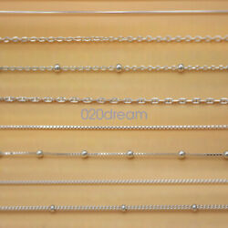 Real Solid 925 Sterling Silver Chain Necklace All Sizes Stamped .925 Italy Lady $9.99