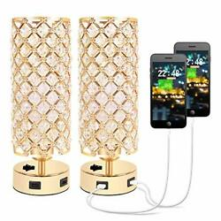 USB Crystal Table Lamp Small Gold Lamp Sets Desk Lamp Set of 2 with USB Charg... $69.28