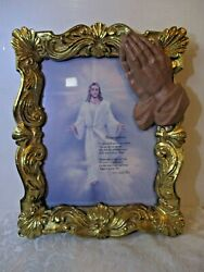 Vintage RESURRECTION Wall Hanging In Gold Frame With Praying Hands 13quot; X 10quot; $12.99
