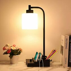 Industrial Table Lamp Fully Dimmable Bedside Lamps with USB Ports amp; Phone Stand $49.99