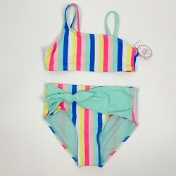 JUSTICE Girls High Waisted Candy Stripe Two Piece Swimsuit 14 NEW $24.95