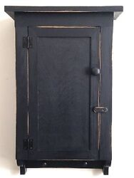 NEW Handcrafted Primitive Country Rustic Distressed Black Bath Wall Cabinet $99.99