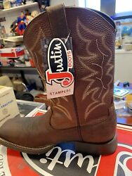 Justin Men#x27;s US 11.5D Stampede 11quot; Square Toe Western Boots Pebble Brown 7222 $59.95