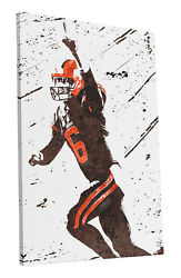 Baker Mayfield Cleveland Browns Art Wall Room Canvas Poster CANVAS $24.99