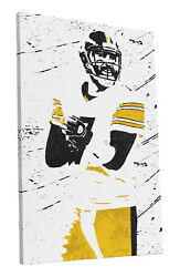 Ben Roethlisberger Pittsburgh Steelers Art Wall Room Canvas Poster CANVAS $99.99