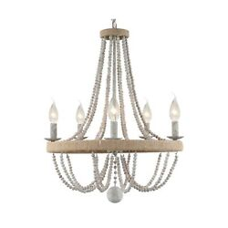 French Country Chandelier for Dinning Room Wooden Bead Tassel Farmhouse Chan... $275.46