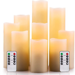 Flameless Candles LED Battery Operated Candles Set of 9 Real Wax Pillar Remote $22.74