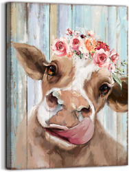 Country Farmhouse canvas Printing Rustic Bedroom Decor Retro Cow Wall Art Home a $21.99