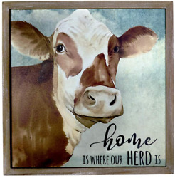 HOMirable Wall Decor Rustic Home Sign Animal Country Farmhouse Print Picture Can $20.99