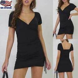 Womens V Neck Bodycon Mini Dress Ladies Short Sleeve Drawstring Party Dress US $9.99