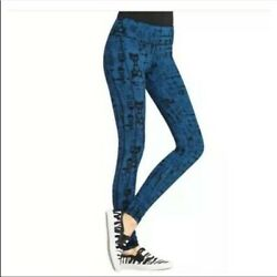 Cabi Blue Black Women#x27;s Skinny Tech Pant Athletic Leggings Size XS Ruched Leg