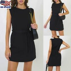 Women Round Neck Bodycon Mini Dress Ladies Summer Belt Sleeveless Party Dress US $9.99