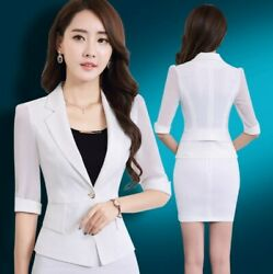 2 Pieces Set Office Skirts Suit Women Business Casual Skirt Suits Black White $79.99