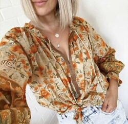 L New Boho Floral Long Sleeve Peasant Blouse Vtg 70s Insp Top Womens Size LARGE $48.50