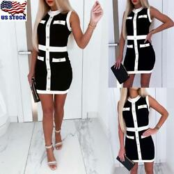 Womens Knitted Bodycon Mini Dress Sleeveless Party Dress Button Sweater Dress US $8.99