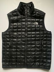 Mens The North Face Thermoball Black Vest Medium Insulated Jacket Full Zip EUC $85.00