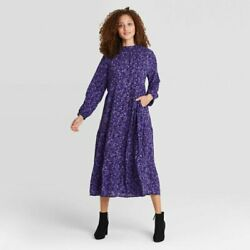 Women#x27;s Purple Floral Long Sleeve Tiered Midi Dress A New Day XS $19.97
