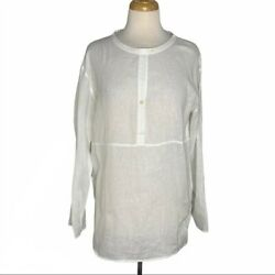 Camp;C California White Linen Crew Neck Tunic Shirt Boho Beach Resort Style Medium $19.99